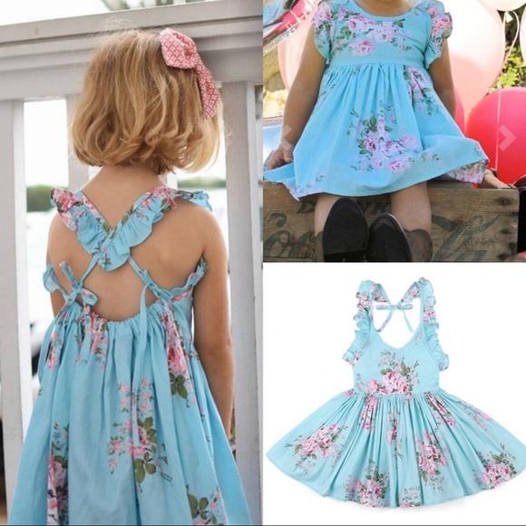 Other - NWT Girls Baby Blue Floral Summer Dress Set
